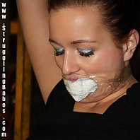 Lena tied up mouth-stuffed tapegagged nipple-clamped whipped