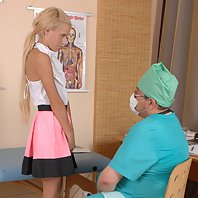 Blondie stripped for a crushing medical exam