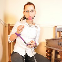 Tied Virgin Bailey cannot escape her bondage masters