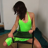 Hot swarthy brunette teased by her coach