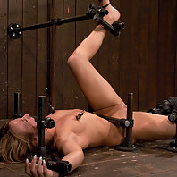 Girl next door bound down and fucked by a machine.