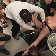 Hot redhead gets publicly fucked and fondled in a hardware store