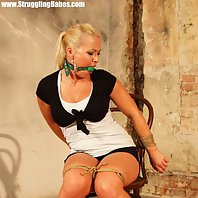 Veronica chair-tied ballgagged drooling a river