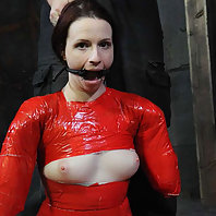 Claire Adams confesses a deep desire to be bound so tightly she cannot move so PD turns her into a c