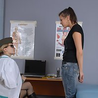Army doctor examines her confused patient