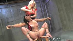 Bdsm xxx sexy latina sub has hot wax treatment and electric orgasm