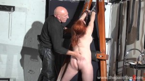 Swedish amateur submissive vicky valkyries dungeon bondage and whipping post spanking of chubby ensl
